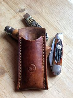 Leather Case Sheath for your Pocket Traditional by BroLeatherWorks