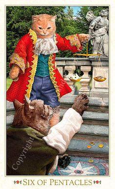 Tarot des chats baroques - Six de Deniers