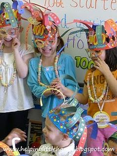 some ideas for 100th day of school class party-kids make hats and trail mix using 10 each of 10 ingredients, etc.
