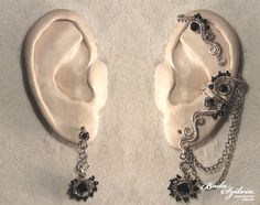 MORGANA - wire wrapped ear wrap with post earring - silver and black  by bodaszilvia, $50.50