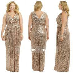 Aliexpress.com: Comprar Oro de la boda Prom vestidos largos más el tamaño elegante del champán dorado rosa vestido de dama de 2015 lentejuelas Bling del oro de dama de honor vestidos de dressé fiable proveedores en Siya Wedding dress