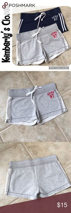 """🛍AEROPOSTALE Short Bundle🛍 AEROPOSTALE short bundle.  2 pairs of """"sweatshirt"""" material lounge shorts.  One pair is light gray with dark pink embroidered logo on hip.  One pair is navy blue with white stripes and embroidered logo.  Both have drawstring waists and intentionally slightly frayed hem lines.  Gently used - good condition (no marks, tears, stains).  Inseam measures 2.75"""" and waistband measures 16"""" across when laying flat.  Both are size medium but fit more like a size small…"""