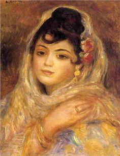 Algérie - Peintre Français Pierre-Auguste Renoir (1841 -1919), huile sur toile 1881, Titre : Portrait d'une femme Algérienne.
