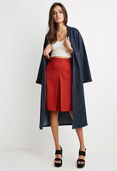 Inverted Front-Pleat A-Line Skirt | Forever 21 - 2000156358 [This skirt in softer colors - meke]