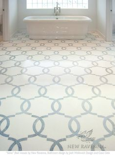 This custom bathroom features a Seine mosaic floor shown in Thassos and Celeste from the Silk Road Collection by Sara Baldwin for New Ravenna.<br /> <br /> For pricing samples and design help, click here: http://www.newravenna.com/showrooms/