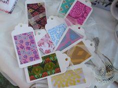 Hand made Gift Tags various styles Packet of 10 Organza ribbon ties by Anita.