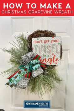Christmas is one of our favorite times of the year. Enjoy this DIY Christmas grapevine wreath tutorial and add it to your holiday decor! Make Your Own Wreath, How To Make Wreaths, How To Make Bows, Christmas Projects, Diy Christmas, After Christmas, Handmade Christmas Decorations, Handmade Home Decor, Holiday Wreaths