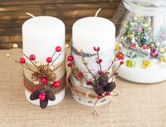 Festive Christmas Candles - Decorate for the holidays with these easy DIY Christmas Candles. Wide ribbon, floral picks, m...