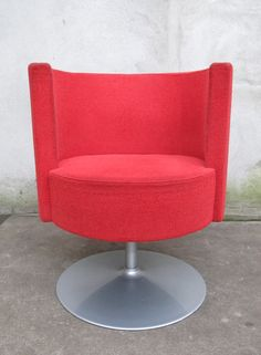 Danish Modern Red Swivel Lounge Chair Furniture S Upholstered Dining Chairs