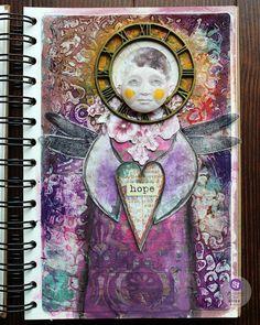 Riikka Kovasin - Paperiliitin: Guardian of Hope - Prima Marketing Facebook live Art Journal Pages, Journal Cards, Finnabair Mixed Media, Liquid Acrylic Paint, Mechanical Clock, Art Basics, Prima Marketing, Facebook Marketing, Moon Child