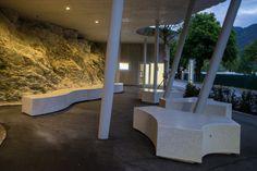 Onda bench with led spot light bellitalia concrete and for Bellitalia arredo urbano