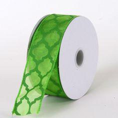 Organza Ribbon Large Quatrefoil Print Kiwi - 1-1/2 inch x 10