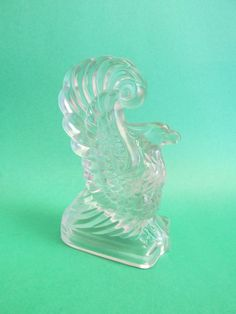 Frosted Glass Bald Eagle Statue with Hollow Base Patriotic Home Decor - Vintage