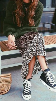 sweater, leopard skirt and sneakers