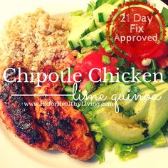 Chipotle Chicken, Lime Quinoa, and Avocado Salad with Cilantro Lime Dressing | This website has LOTS of recipes and tips for the 21 Day Fix program www.rxforhealthyliving.com | #21DayFixApproved #21DayFix