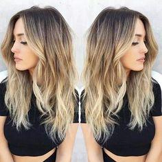 dark roots, balayage blonde #BlondeHairstylesDark