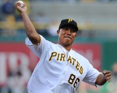 MAY 10, 2012: Retired Steelers receiver Hines Ward throws out the ceremonial first pitch before the Pirates-Nationals game on Thursday, May 10, 2012, at PNC Park.  Christopher Horner     Tribune-Review