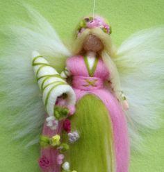 SPRING FAIRY Cornucopia Needle Felted Wool  Doll Angel Fairies Soft Sculpture Waldorf Inspired