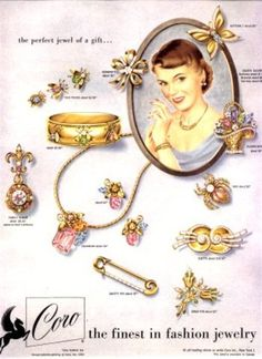 Vintage ads for Coro costume jewelry, and A lovely array of vintage springtime perfect jewelry pieces from Coro. 1950s Jewelry, Jewelry Ads, Vintage Costume Jewelry, Vintage Costumes, Antique Jewelry, Vintage Jewelry, Fashion Jewelry, Vintage Accessories, Vintage Clothing