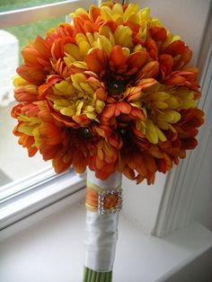 GRAND 10 Inch Gerbera Daisy Wedding BOUQUET & BOUTONNIERE  Set shown in Orange and Yellow perfect for any Fall, Spring , Summer Wedding on Etsy, $175.00