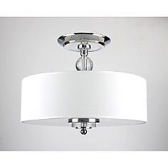@Overstock - Acrylic accents the chrome-finished iron base of this flush-mount ceiling light fixture. An off-white fabric round shade adds clean lines and modern elegance to the light fixture.  http://www.overstock.com/Home-Garden/Crystal-Decorated-Off-White-Shade-Flushmount-Ceiling-Chandelier/6708946/product.html?CID=214117 $99.99