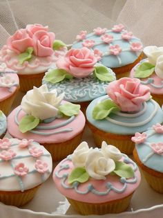 Pink and baby blue cupcakes