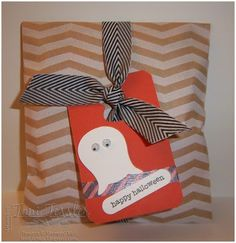 Toni Tessler (tonistamps) Independent Stampin Up Demonstrator. Halloween treat bag with ghost (owl punch), and Chalk Talk tag framelits
