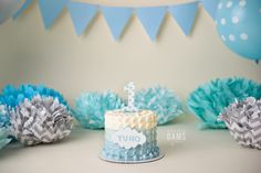 Amanda Dams Photography - Cake Smash Blue / Mint / White