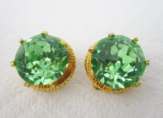 Vintage Earrings Huge Green Rhinestone Cut by LadyandLibrarian, $40.00 #vintage #rhinestone #earrings #ladyandlibrarian