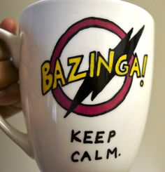 Bazinga Painted Art Mug Keep Calm The Big Bang by DreamAndCraft, $25.00