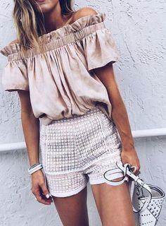 summer chic street style. satin, silk top + shorts.