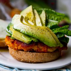 Sweet potato burger with avocado. These are a few of my favorite things!