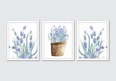 Watercolor Lavender Flowers, Lavender Art Prints, Hand Painted Flowers Art, Floral Watercolor Painting, Floral Prints, Floral Bedroom Decor by MintArtStudio on Etsy