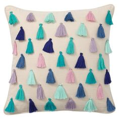 Rainbow Tassel Pillow Covers from PBteen. Handmade Pillow Covers, Handmade Pillows, Handmade Home Decor, Decorative Pillows, Diy Cushion Covers, Throw Pillow Covers, Colorful Throw Pillows, Cute Pillows, Diy Pillows