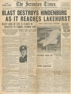 Hindenburg Disaster Special Edition, Scranton Times 1937