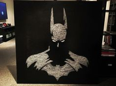 Batman cuadro con hilo – Batman box with thread – String Art Diy, String Crafts, Diy Wall Art, Wall Decor, Diy And Crafts, Arts And Crafts, Art Perle, String Art Patterns, Deco Originale