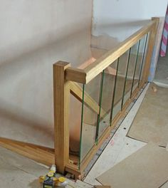 Glass panels along a landing banister