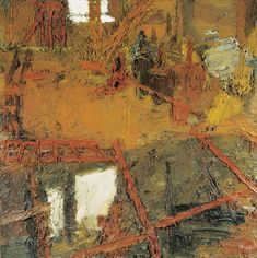 "Frank Auerbach - ""Rebuilding The Empire Cinema, Leicester Square"", 1962 - Oil on board - 152,5 x 152, 5 cm."