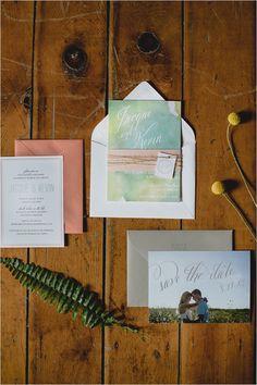 Custom watercolor invitations. #weddinginvitations #watercolor #weddingchicks Stationery Design: Jill Drazkowski ---> http://www.weddingchicks.com/2014/05/02/3-reasons-why-wedding-buffets-rock/