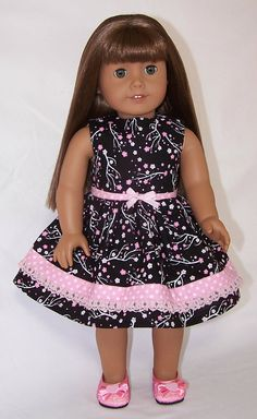 American Girl Doll Midnite In Pink Dress by SewDollyCute on Etsy, $12.75