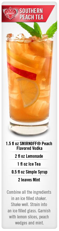 Southern Peach Tea drink idea with Smirnoff Peach flavored vodka. I am going to sub sweet tea vodka for the iced tea and simple syrup Peach Vodka Drinks, Cocktail Vodka, Non Alcoholic Drinks, Cocktail Recipes, Cocktail Parties, Party Drinks, Fun Drinks, Yummy Drinks, Beverages