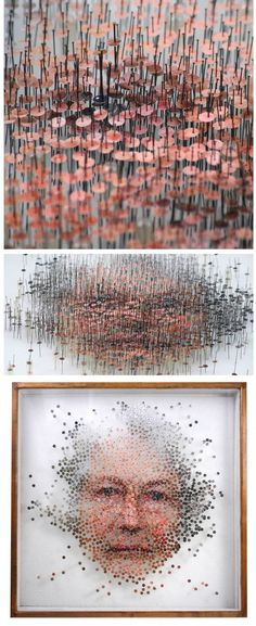 Michael Mapes - cutting out shapes from photos, then attaching them to canvas with straight pins to re-form the picture Sculpture Art, Sculptures, Modern Art, Contemporary Art, Instalation Art, Creation Art, Wow Art, Art Plastique, Oeuvre D'art