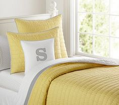 Branson Reversible Quilted Bedding #pbkids $129 for blanket $50 for Euro Pillow