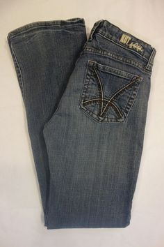 Kut from the Kloth medium blue distressed boot cut jeans SZ 6 W28 L33 #KUTfromtheKloth #BootCut
