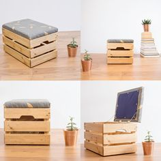 Upcycled Apple Crate Ottoman Foot stool / seat / storage box with hand screen charcoal / gold parquet leaf pattern fabric Diy Home Furniture, Diy Furniture Projects, Diy Pallet Projects, Recycled Furniture, Furniture Makeover, Wooden Apple Crates, Diy Wooden Crate, Crate Ottoman, Diy Ottoman