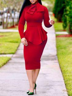 Bowtie Neck Ruffles Hem Slinky Midi Bodycon Dress - - Source by African Fashion Dresses, African Dress, Chic Dress, Classy Dress, Dress Outfits, Fashion Outfits, Womens Fashion, Dress Fashion, Bodycon Fashion