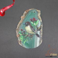 HAND-PAINTED-BIRD-GEMSTONE-STONE-NECKLACE-PENDANT-BEAD-A1703-0068