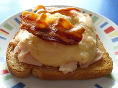 Kentucky Hot Brown: use FF milk, count for flour (can use as little as 1/2 T.), use FF cheddar (or RF and count), good with 1 wedge Laughing Cow Swiss added (count), mustard and hot pepper sauce are optional, count for Parmesan, use skinless turkey breast slices, optional -- use lean center-cut bacon (count if using); Thanks Mary Anne!
