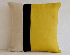 Yellow Pillow - Throw Pillows color block - Burlap Pillow - Decorative cushion cover- Spring Throw pillow gift pillow 16X16