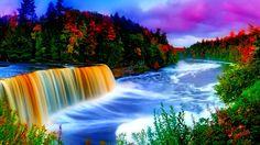 Waterfall And Rainbow Wallpaper Full Hd